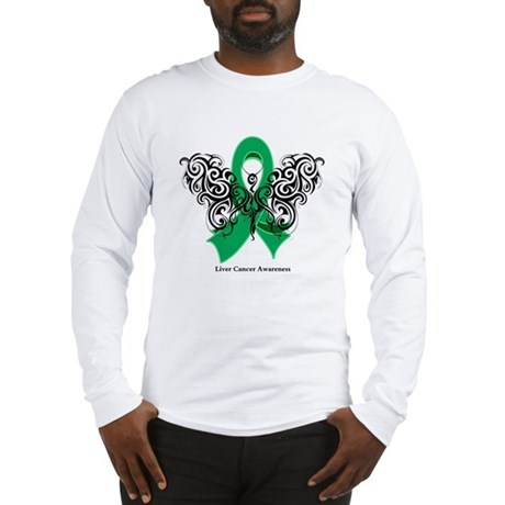 Liver Cancer Tribal Butterfly Long Sleeve T-Shirt
