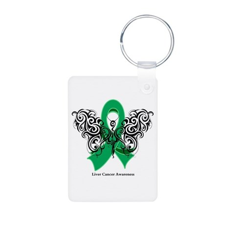 Liver Cancer Tribal Butterfly Aluminum Photo Keych