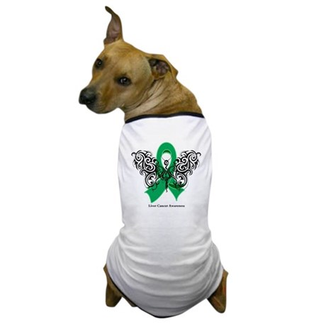 Liver Cancer Tribal Butterfly Dog T-Shirt