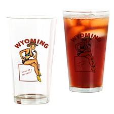 Vintage Wyoming Pinup Pint Glass