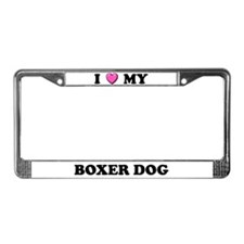 I Heart My Boxer Dog License Plate Frame