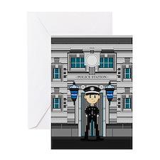 Policeman and Police Station Greeting Card