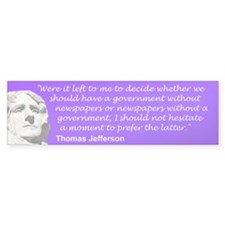 Jefferson Newspapers Quote Bumper Sticker
