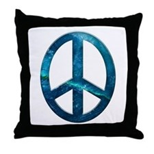 Turquoise Sculpted Stone Peace Symbol Throw Pillow