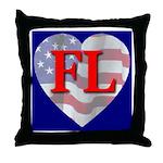 Love FL Flag Heart Throw Pillow