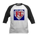 Love FL Flag Heart Kids Baseball Jersey