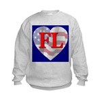 Love FL Flag Heart Kids Sweatshirt