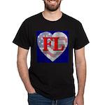 Love FL Flag Heart Black T-Shirt