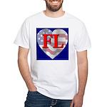 Love FL Flag Heart White T-Shirt