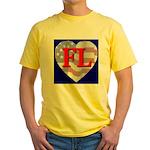 Love FL Flag Heart Yellow T-Shirt