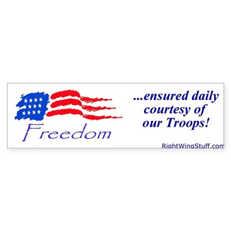 """Freedom Ensured"" Bumper Sticker"