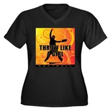 2011 Softball 91 Women's Plus Size V-Neck Dark T-S