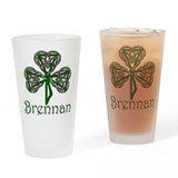 Brennan Shamrock Drinking Glass