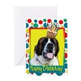 Birthday Cupcake - St Bernard Greeting Card