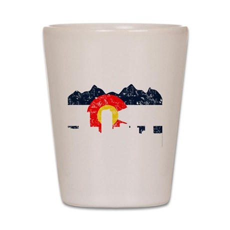Denver, Colorado Flag Distressed Shot Glass
