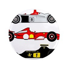 "Cute Race car 3.5"" Button"