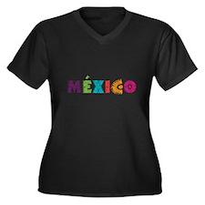 MéXICO Women's Plus Size V-Neck Dark T-Shirt