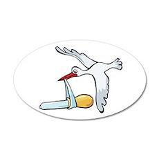 Test Tube Stork 22x14 Oval Wall Peel