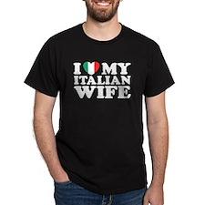 I Love My Italian Wife Black T-Shirt