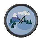 Mountain scene Large Wall Clock