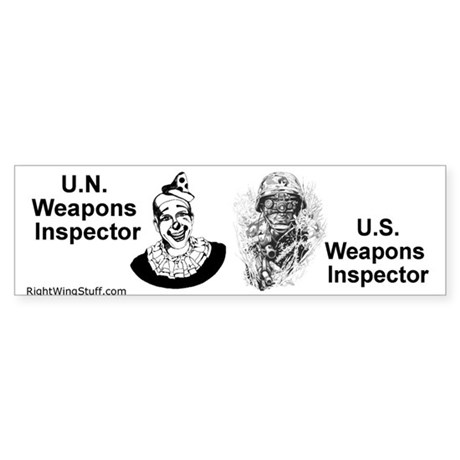 """Weapons Inspectors"" Bumper Sticker"