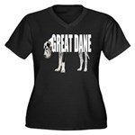 Great Dane Women's Plus Size V-Neck Dark T-Shirt