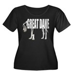Great Dane Women's Plus Size Scoop Neck Dark T-Shi