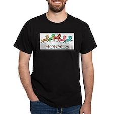 many leaping horses Black T-Shirt