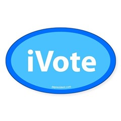 iVote Blue Oval Sticker