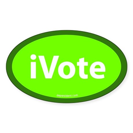 iVote Green Oval Sticker