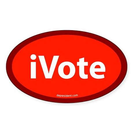 iVote Orange Oval Sticker