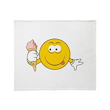 Ice Cream Cone Smiley Face Throw Blanket