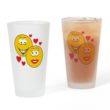 Smiley Faces in Love Pint Glass