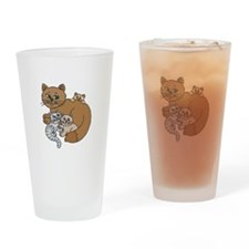 Mommy Cat and Kittens Pint Glass