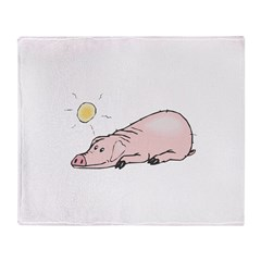 Funny Pig in the Sun Throw Blanket