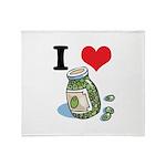 I Heart (Love) Green Olives Throw Blanket
