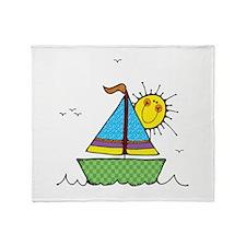 Cute Sail Boat and Sun Throw Blanket