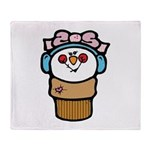 Cute Little Girl Snow Cone Throw Blanket