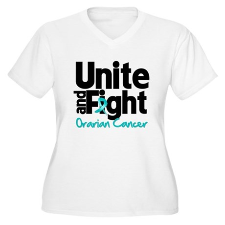 Unite Fight Ovarian Cancer Women's Plus Size V-Nec