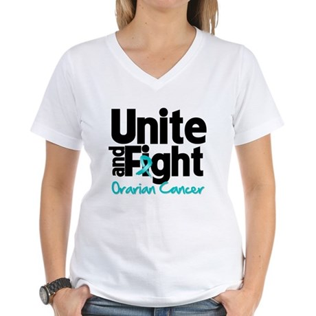 Unite Fight Ovarian Cancer Women's V-Neck T-Shirt