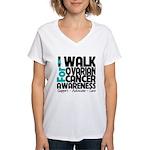 Walk Ovarian Cancer Women's V-Neck T-Shirt