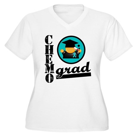 Chemo Grad Ovarian Cancer Women's Plus Size V-Neck