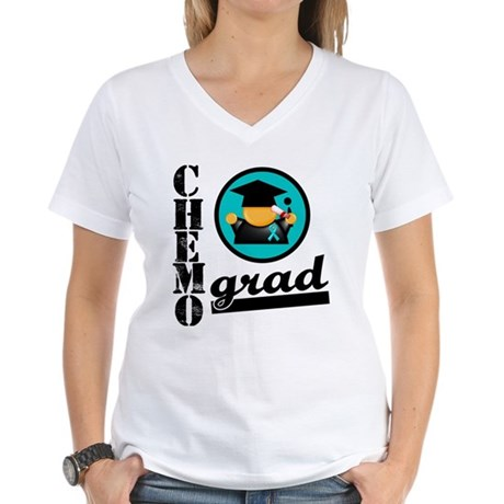 Chemo Grad Ovarian Cancer Women's V-Neck T-Shirt