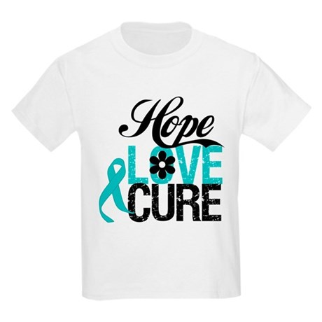 Hope Love Cure Ovarian Cancer Kids Light T-Shirt
