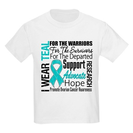 Teal Collage Ovarian Cancer Kids Light T-Shirt