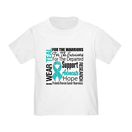 Teal Collage Ovarian Cancer Toddler T-Shirt