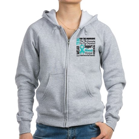 Teal Collage Ovarian Cancer Women's Zip Hoodie