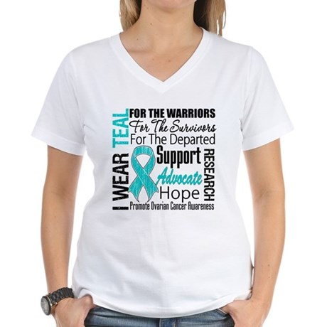 Teal Collage Ovarian Cancer Women's V-Neck T-Shirt