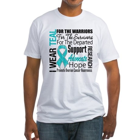 Teal Collage Ovarian Cancer Fitted T-Shirt