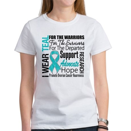 Teal Collage Ovarian Cancer Women's T-Shirt